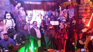 il Troubadore and the Wookiee Cellist at the Dublin Pub Star Wars Episode VII Movie Release Party 2015